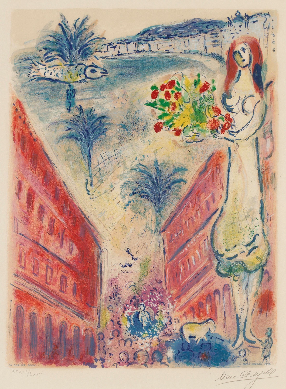 """MARC CHAGALL (After), """"Avenue de la Victoire à Nice"""", from; """"Nice et la Côte d'Azur""""."""