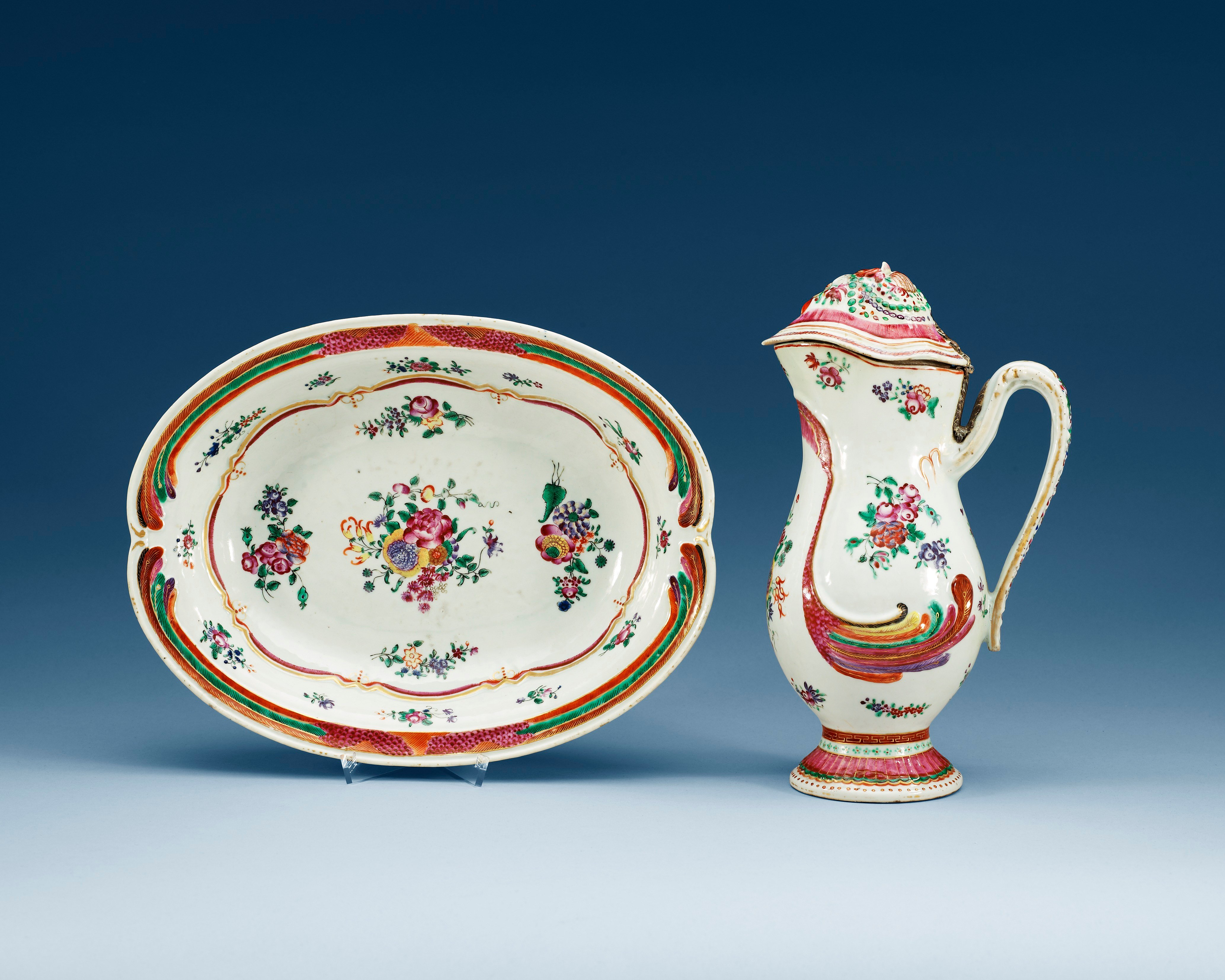 A famille rose ewer and basin, Qing dynasty, Qianlong (1736-95).