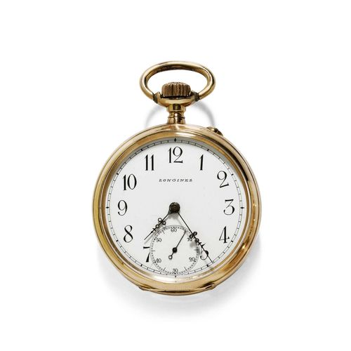 POCKET WATCH, LONGINES, ca. 1900. Yellow gold 750. Polished case No. 374427 with engine-turned back and cartouche. Enamelled dial with Arabic numerals and diamond-set hands, oxidized, small second at 6h. Dust cover in gold, No. 374427. Lever movement with flat spring, bimetallic balance, pallet with counterpoise. D 45.5 mm.