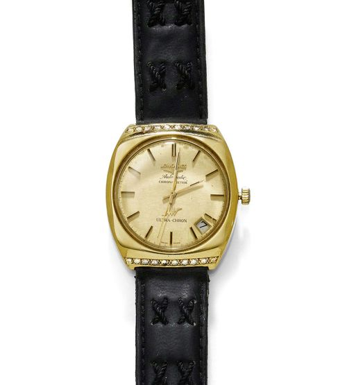 DIAMOND LADY'S WRISTWATCH, AUTOMATIC, LONGINES, 1970s. Yellow gold 750. Ref. 8352-4. Tonneau-shaped case with brilliant-cut diamond edge. Round, gold-coloured dial with black painted indices and gold-coloured hands, central second, date at 4-5h, signed Longines Automatic Chronometer, Ultra-Chron. Automatic, movement No. 50757468, Cal. 431. Black leather band. D 38 x 34 mm.