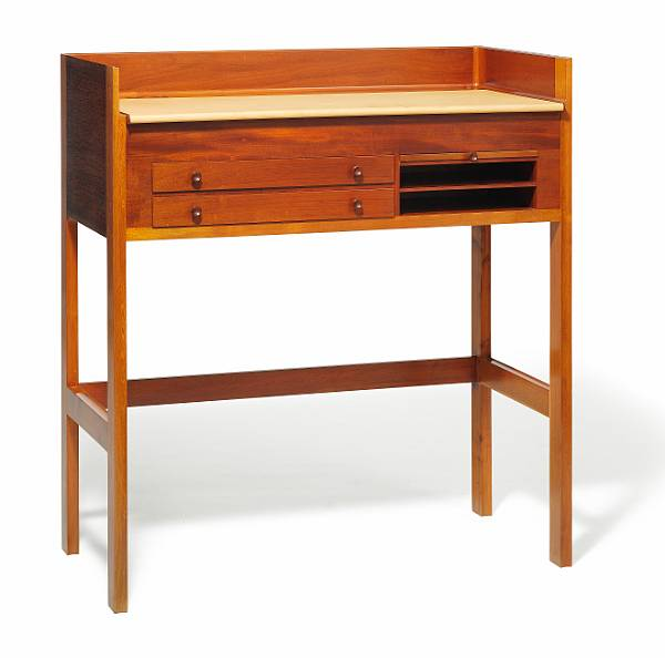 "Grete Jalk: ""Churchill desk"". Solid mahogany desk, front with two drawers, pull-out leaf and shelves. Top covered with patinated natural leather."
