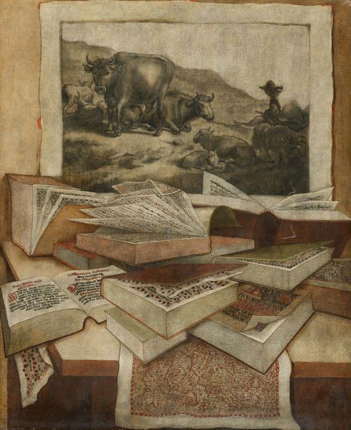 GERMANY, 18TH CENTURY Pair of works: Still life with books, engravings and maps. Oil on canvas. 105.2 x 86.4 cm.