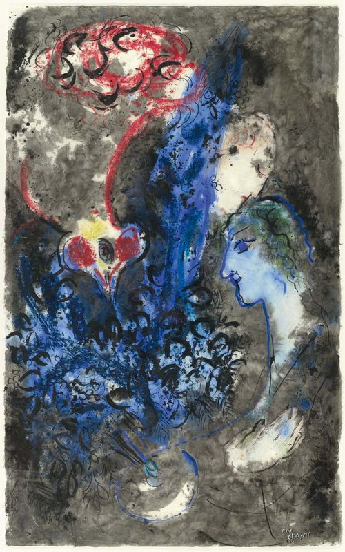 """CHAGALL, MARC (Liosno bei Witebsk 1887 - 1985 Saint Paul de Vence) Le coq et les deux visages. 1956. Ink and gouache on Japan paper. Signed and dated lower right: Marc Chagall 1956. 100 x 62 cm. With a certificate from the  Comité Marc Chagall, Jean-Louis Prat: Paris, 13 October 1994. Provenance: - Private collection, Switzerland, acquired at the exhibition """"Marc Chagall 1950-1956"""" Kunsthalle Bern, 1956. - Koller Auctions 16 June 1994, Lot 3053. - Private collection, Germany, acquired at the above auction. Exhibited: Bern 1956: Kunsthalle Bern. Marc Chagall 1950 - 1956, 27 October - 29 November 1956, Cat. No.82."""