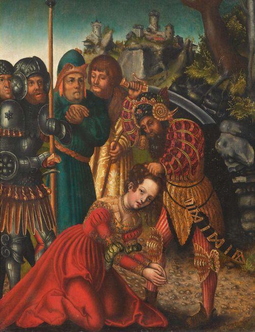 Workshop of CRANACH, LUCAS THE ELDER (Kronach 1472 - 1553 Weimar) The martyrdom of Saint Barbara. Circa 1511-1514. Oil on panel. 49 x 38.9 cm. Technical report: Dr. Gunnar Heydenreich, Jan 2009. Provenance: -  D. Heinemann, art dealer, Munich, 1936 (as Lucas Cranach the Elder). - Probably  Victor D. Spark, art dealer, New York, 1971. - Christie's, New York, 9.1.1981, Lot 180 (as school of Lucas Cranach the Elder). - Collection of Bob Guccione, New York, until 2007. - Private collection, USA. Literature: - Probably Koepplin, D. / Falk, T.: Lukas Cranach. Gemälde, Zeichnungen, Druckgraphik, Kunstmuseum Basel, Basel / Stuttgart, 1974/76, pp. 550-552. - Ainsworth, Maryan (ed.) et al.: German Paintings in the Metropolitan Museum of Art, 1350-1600, New York, 2013, p. 50, 285, fn.28 (as workshop of Lucas Cranach the elder, circa 1511-1514).