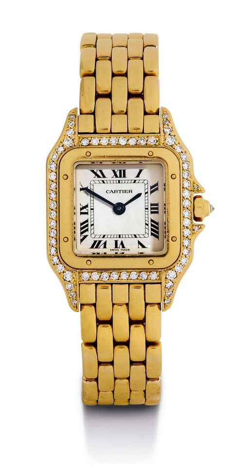 CARTIER PANTHÈRE DIAMOND LADY'S WRISTWATCH, 1985 Yellow gold 750. Square case No. 8669191217 set throughout with 61 diamonds, gold crown set with a diamond, screw-down back with engraved dedication. Silver-plated dial with black Roman numerals and blued hands, quartz movement. Gold link band with invisible double fold-over clasp. D 30 x 22 mm. With Cartier warranty certificate.