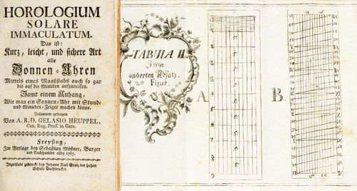 SUNDIAL BOOK: HOROLOGIUM SOLARE IMMACULATUM, ca. 1767. Book. Instructions on the building of sundials, by A.R.D. Gelasio Heuppel, Can. Reg. Prof. in Gars. In the publishing house of Sebastian Mössner, Burger und Buchhandler allda 1767. 53 pages, index and 7 foldable copper plates. D (book) 11 x 18 cm.