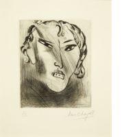 Marc CHAGALL 1887 - 1985 - AUTOPORTRAIT BOUCHE MAISON - 1922-1923