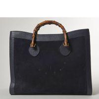 GUCCI, Grand sac en porc velours et cuir bleu nuit, deux anses main ba