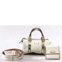 GUCCI  Ensemble en cuir blanc et argenté composé d'un sac, d'un porte
