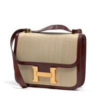 HERMES Paris made in france - Sac 'Constance' en crinoline et box roug