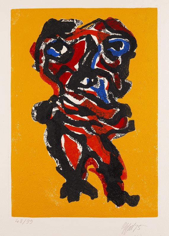 Karel AppelForte Femme sur eau jaune, 1975.