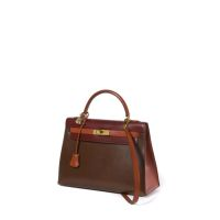 HERMES Paris made in france Sac 'Kelly' 32 cm en box rigide tricolore