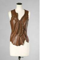 Jean-Paul GAULTIER Maille Femme TOP en cuir et jersey de coton chocola