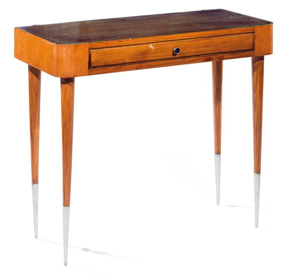 Gio PONTI (1891-1979) A revarnished light wood framed console table with slender legs, a front drawer and a glass top with chrome-plated handles. Height. 29 7/8 IN. - Width. 35 3/8 IN. - Depth. 16 IN. Haut. 75,8 cm - Larg. 90 cm - Prof. 40,5 cm