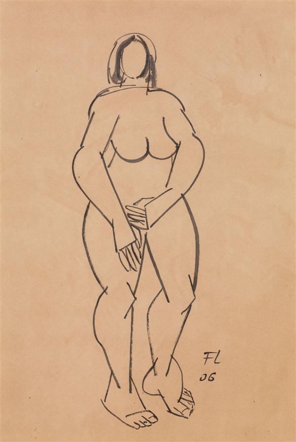 Fernand Léger (1881-1955) Nu debout, 1906 Encre sur papier Monogrammée et datée '06' en bas vers la droite  Ink on paper Monogrammed and dated '06' lower right 30 x 21cm - 11 3/4 x 8 1/4 in.