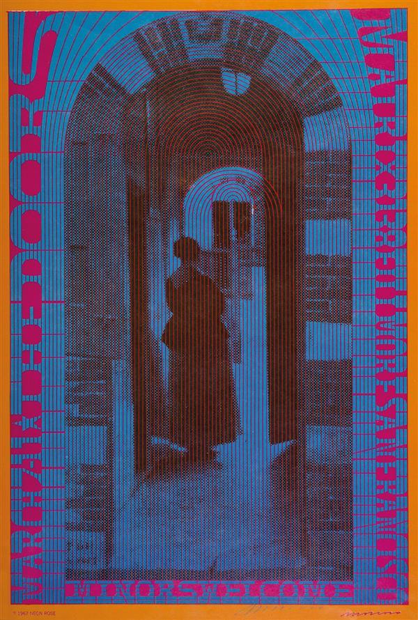 VICTOR MOSCOSO THE DOORS, 1967. Affiche de la série Neon rose poster, signée par l'artiste. Pour un concert à The Matrix, San Francisco. 52,7 x 35,9 cm