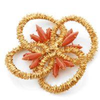 FABERGE Clip de corsage en or jaune fait de quatre anneaux imbriqués e