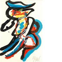 Karel APPEL (né en 1921) PERSONNAGE Gouache sur papier