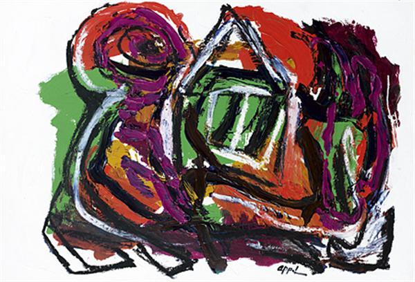 Karel Appel (1921-2006) Le Mendiant, 1987 Acrylique et gouache sur papier marouflé sur toile Signée en bas vers la droite 77,5 x 112 cm