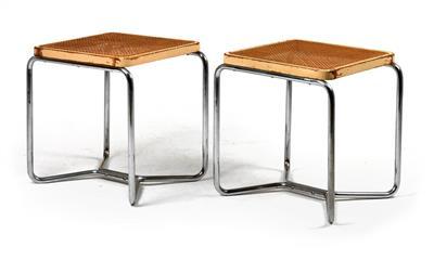 A pair of B56 stools, designed by Marcel Breuer/Thonet design bureau,