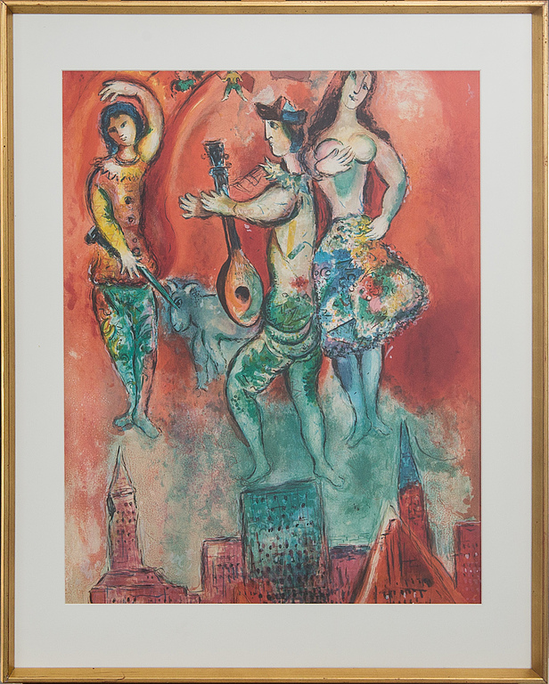 Marc Chagall (after). Color Lithograph.