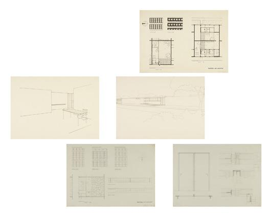 Five architectural drawings, from a class taught by Ludwig Mies van der Rohe at the Bauhaus, Dessau, Germany