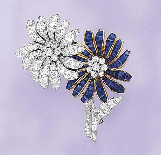 A Sapphire and Diamond Floral Pin