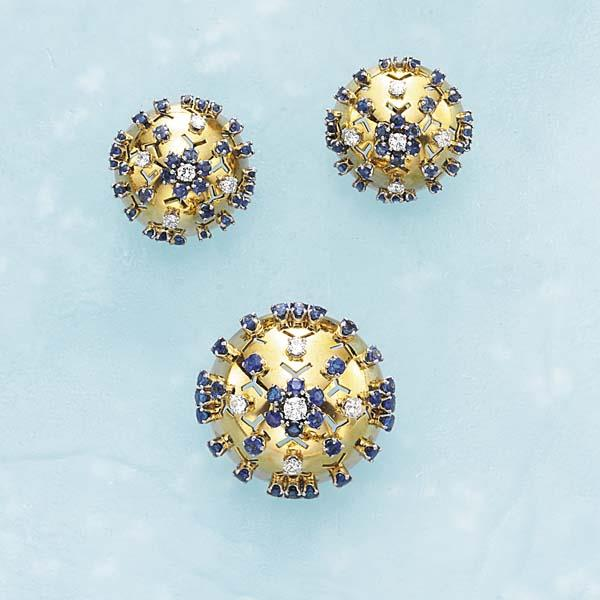 A Diamond Sapphire and Gold Brooch and Earrings