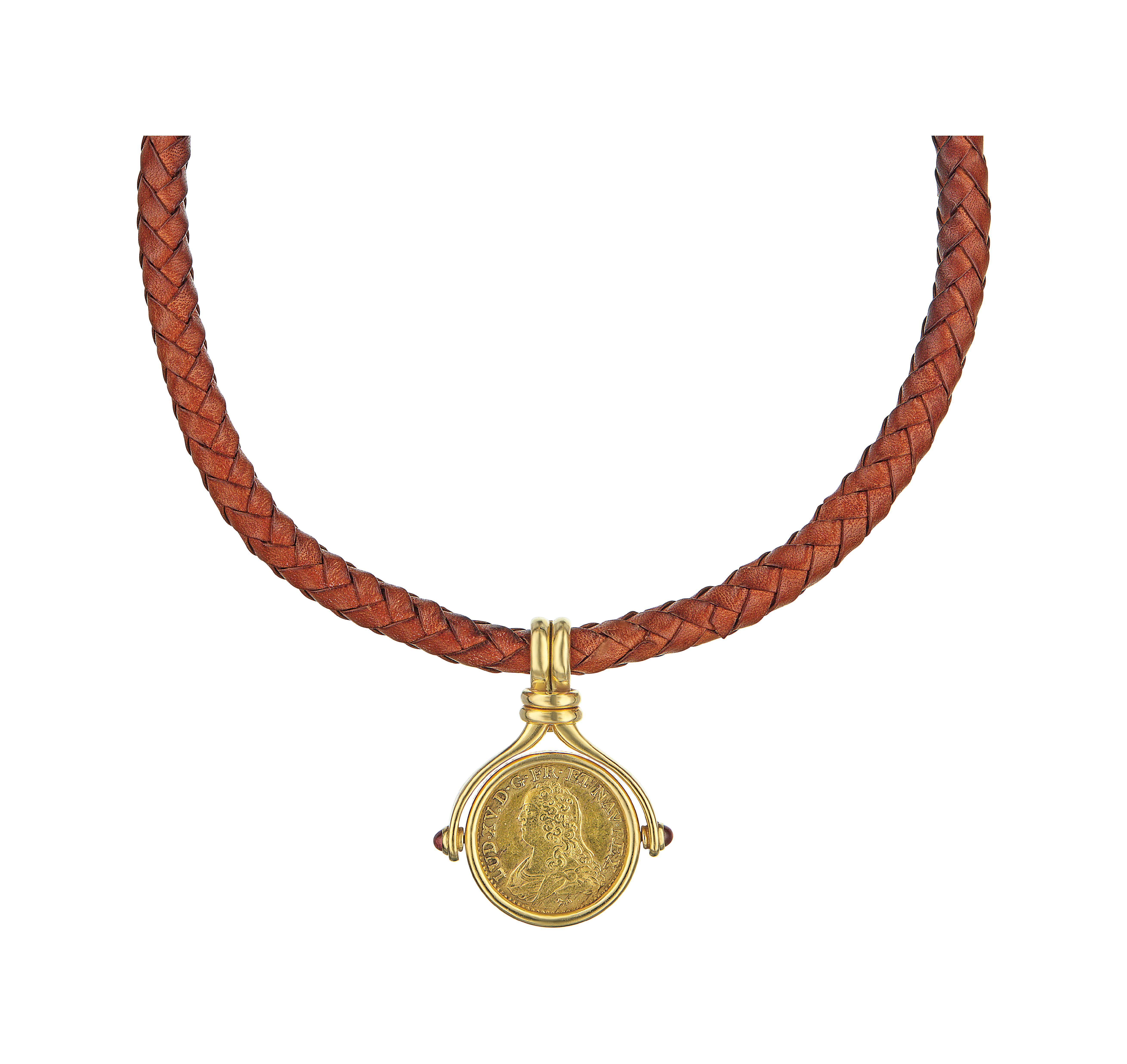 A Gold and Ruby Pendant Necklace
