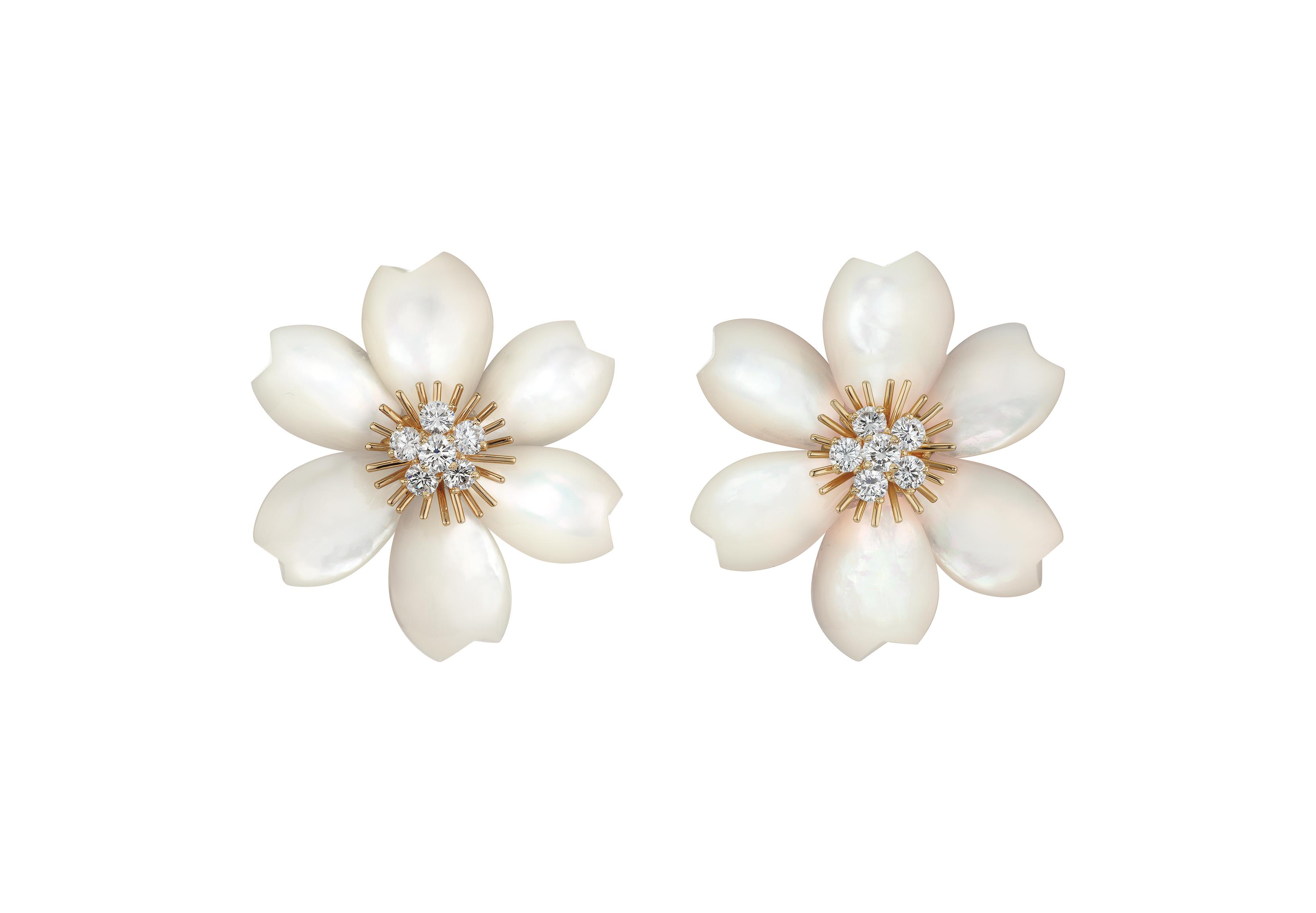 A Pair of Mother-of-Pearl and Diamond Earclips