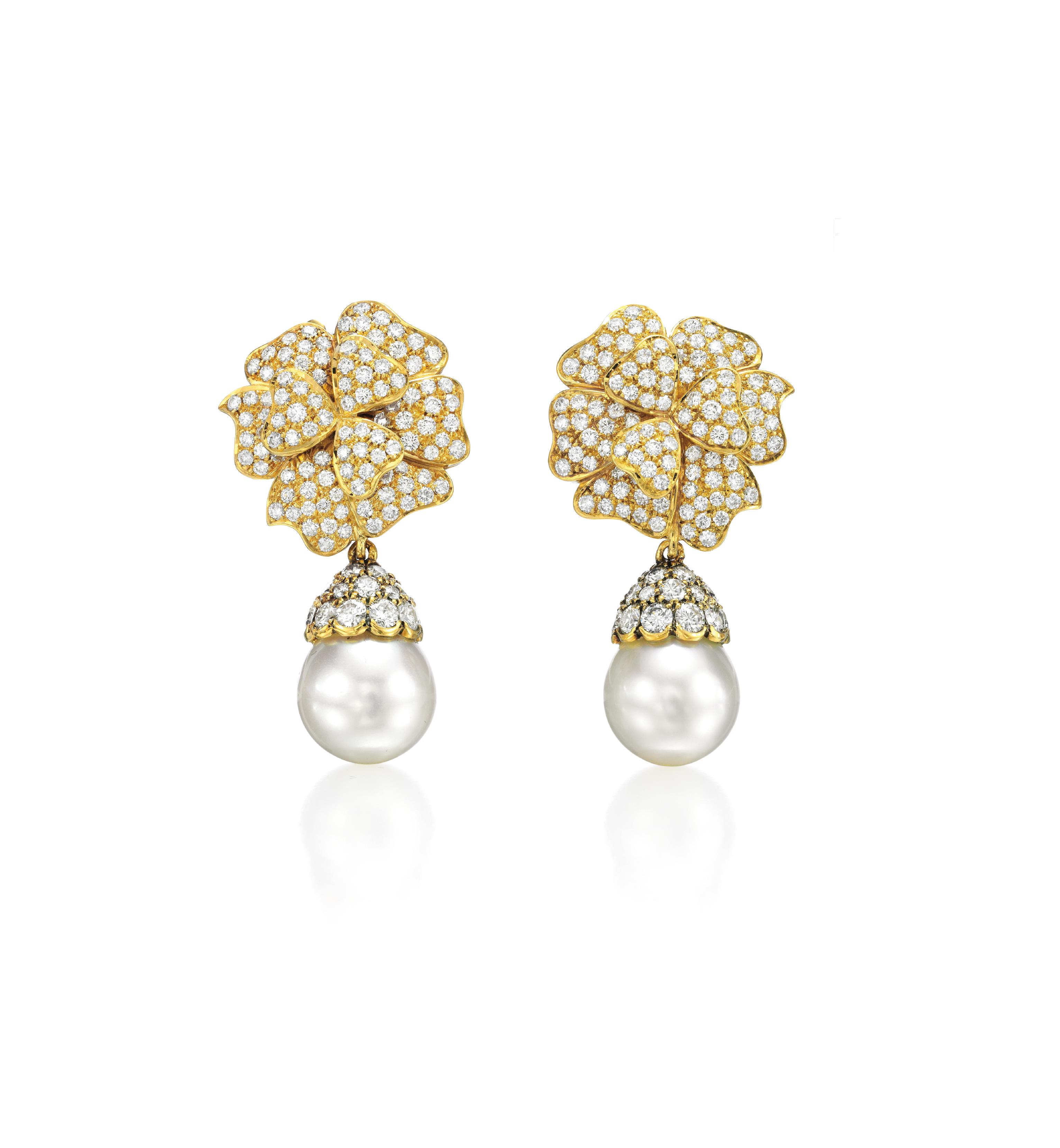 A Pair of Diamond and Cultured Pearl Ear Pendants
