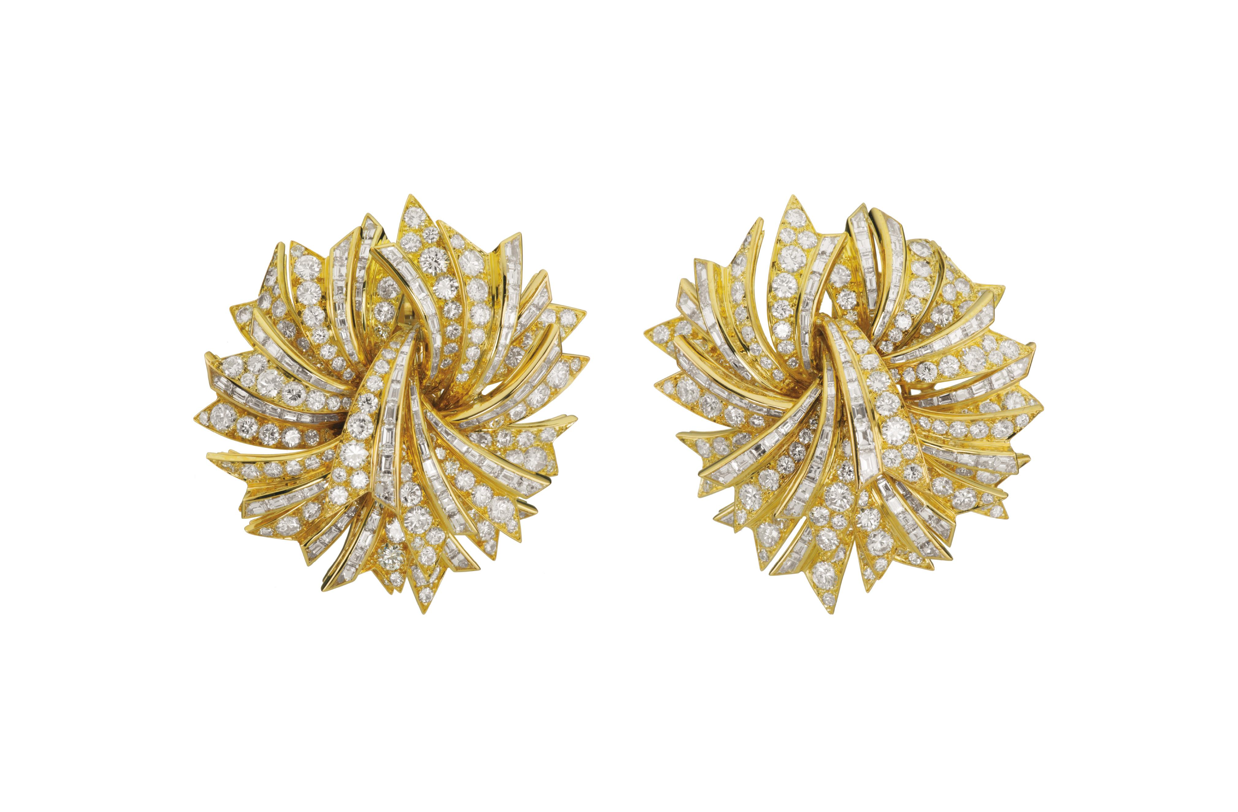 A Pair of Gold and Diamond Earclips