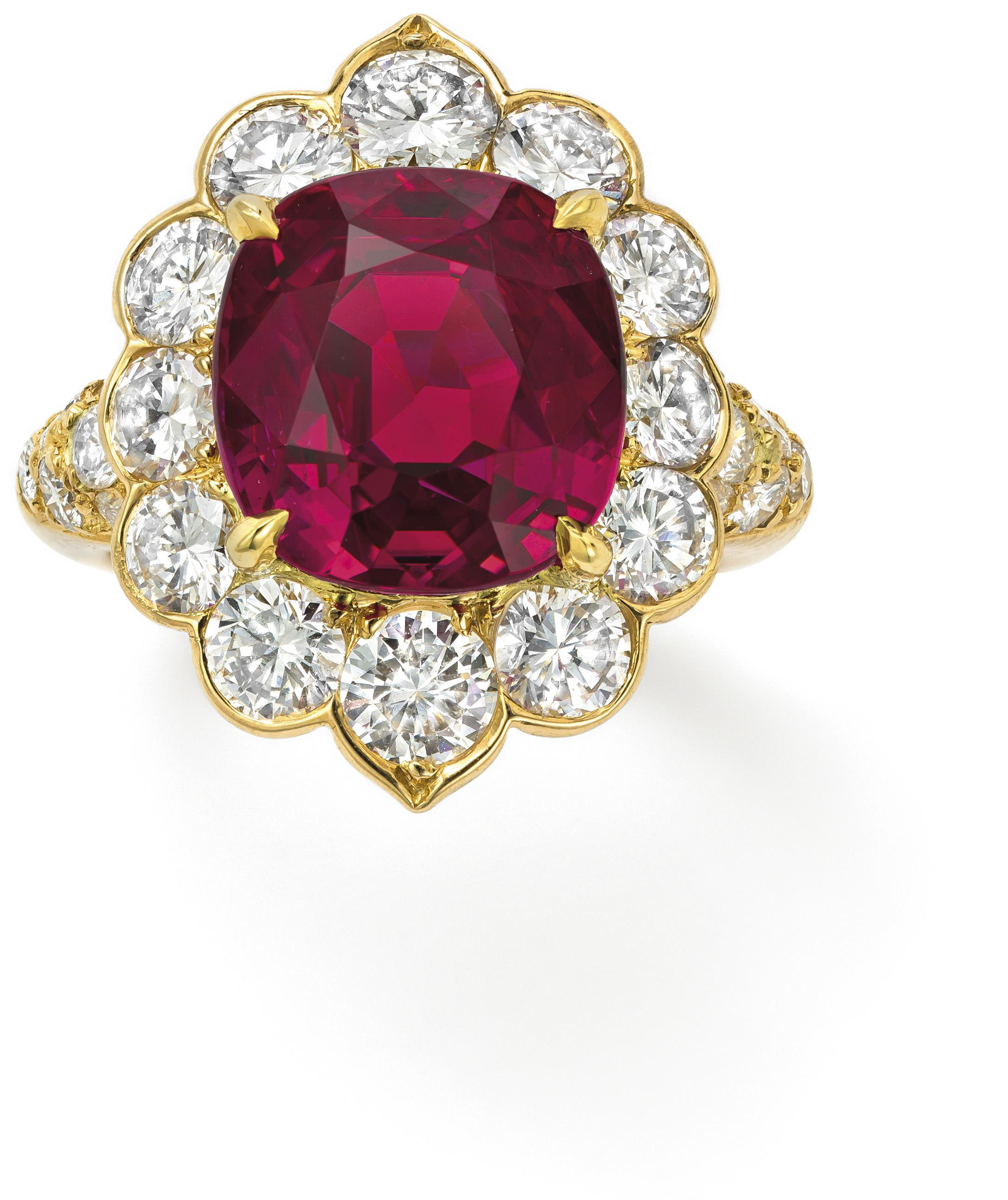A ruby and diamond ring, mount by Van Cleef & Arpels