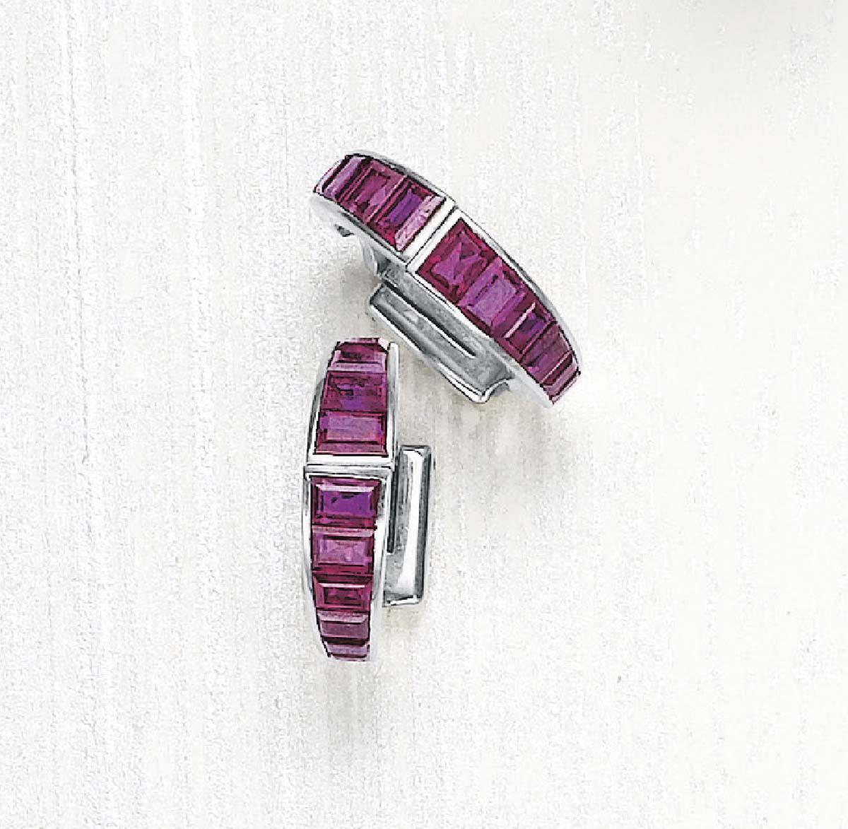 A Rare Pair of Ruby Art Deco Cufflinks