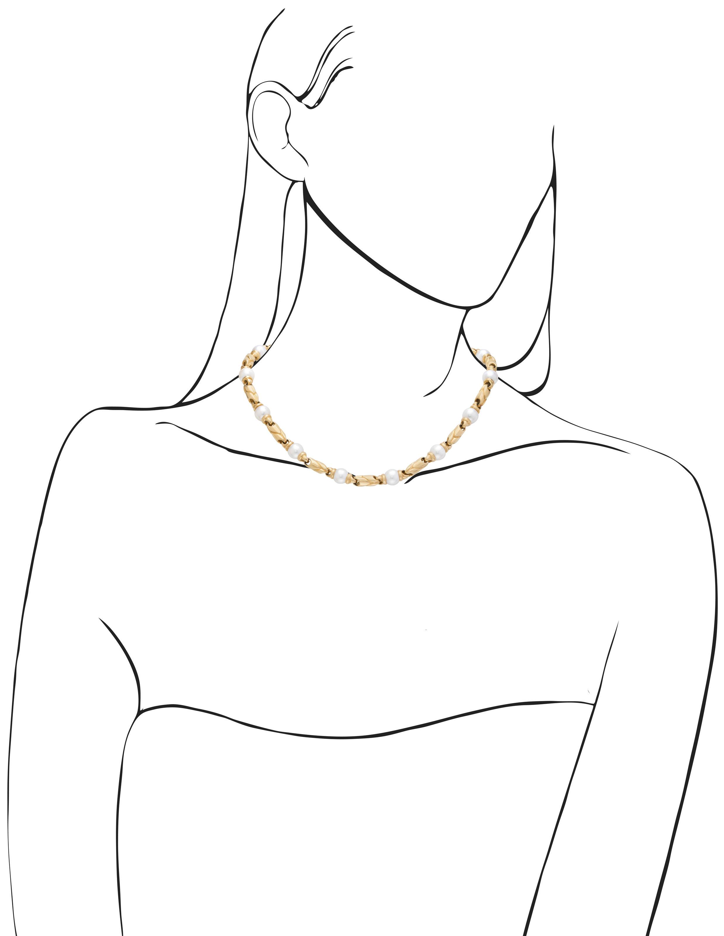 BULGARI CULTURED PEARL AND GOLD NECKLACE