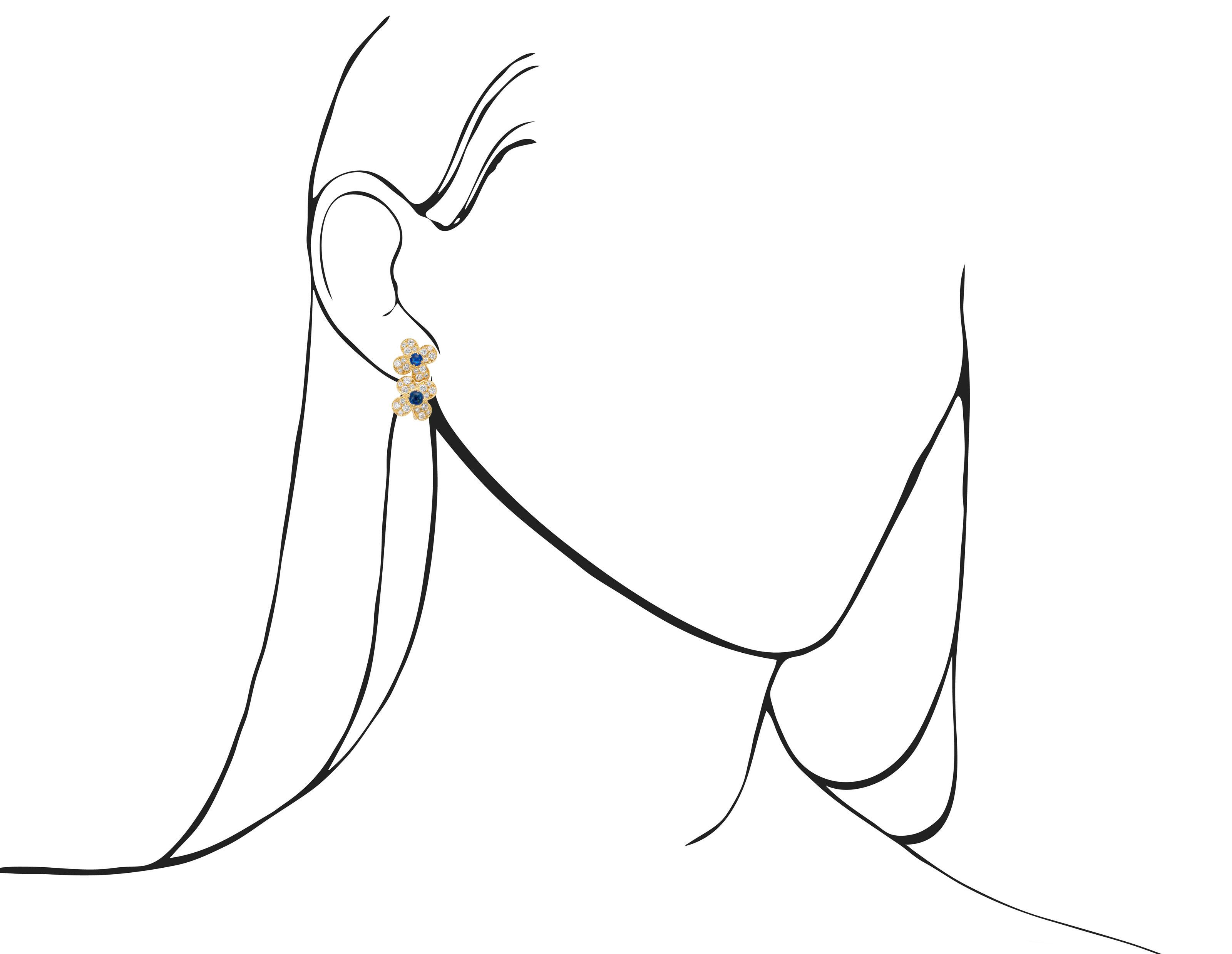 VAN CLEEF & ARPELS SAPPHIRE AND DIAMOND FLORAL EARRINGS