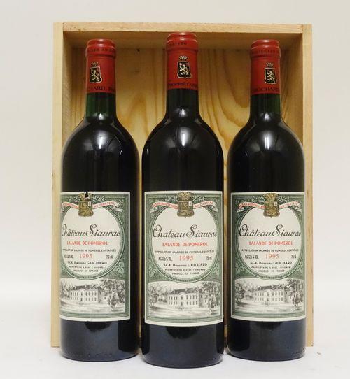 3 bts Lalande de Pomerol Château Siaurac    0.75L   1995