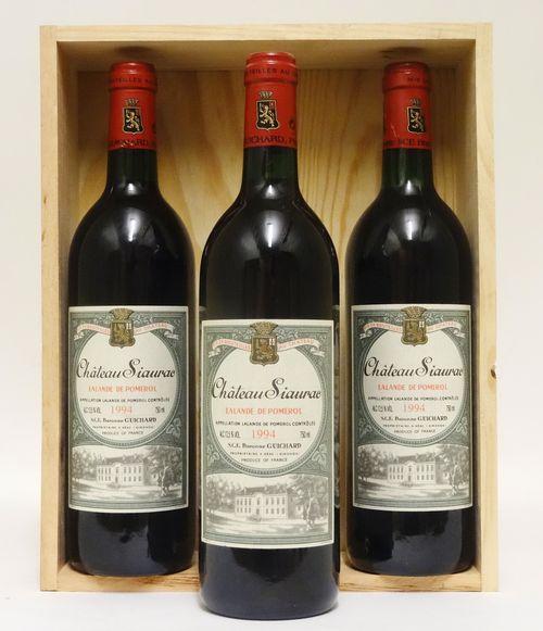 3 bts Lalande de Pomerol Château Siaurac    0.75L   1994