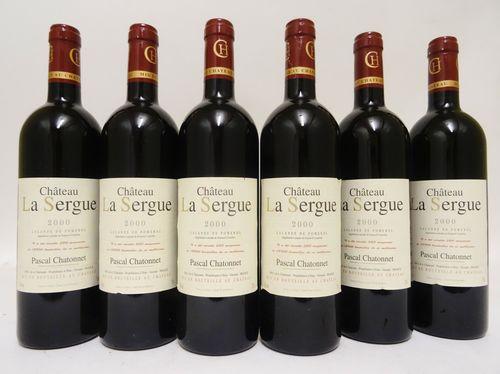 6 bts Lalande de Pomerol Château La Sergue 0.75L  2000