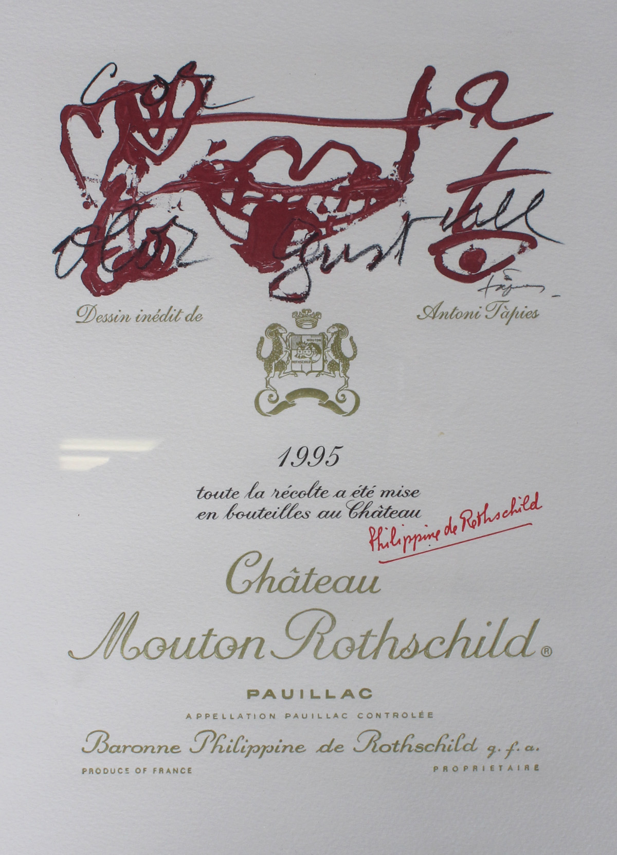 Three paintings with wine labels of Chateau Mouton Rothschild
