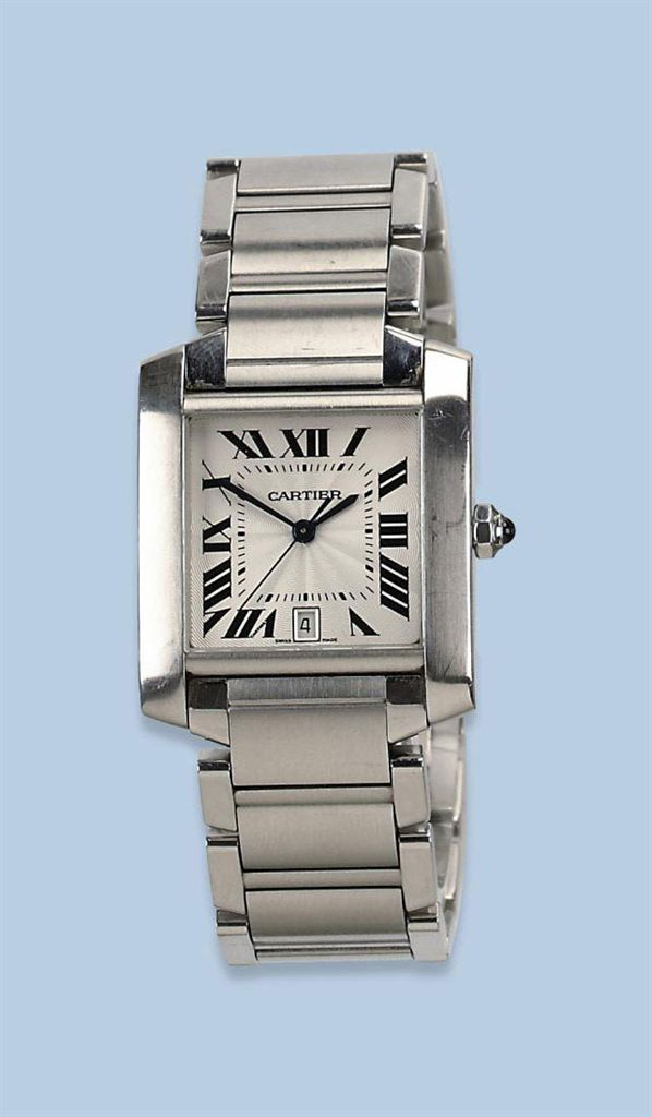 A STAINLESS STEEL WATER RESISTANT SQUARE AUTOMATIC WRISTWATCH WITH CENTER SECONDS AND DATE, BY CARTIER
