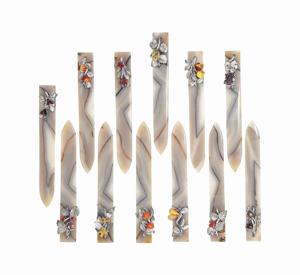 A SET OF TWELVE AGATE AND ENAMEL LETTER OPENERS,