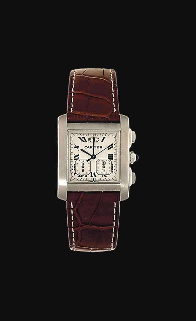 A stainless steel 'Tank Francaise Yearling Chronograph XXL' wristwatch, by Cartier