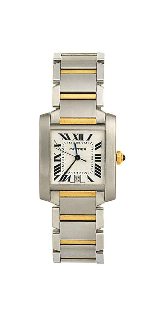 A stainless steel automatic 'Tank Francaise' wristwatch, by Cartier