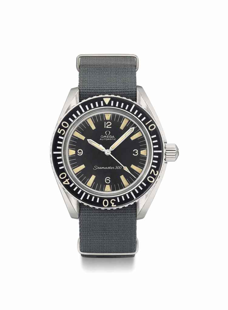 Omega. A very rare stainless steel automatic diver's wristwatch with sweep centre seconds and bakelite bezel, made for the British Royal Navy