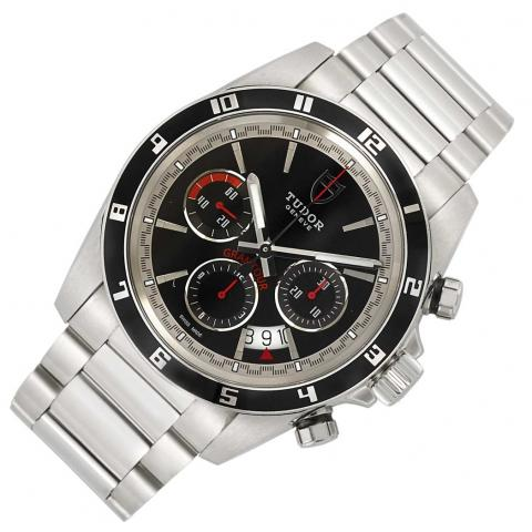 Gentleman's Stainless Steel and Black Enamel Chronograph Wristwatch, Tudor