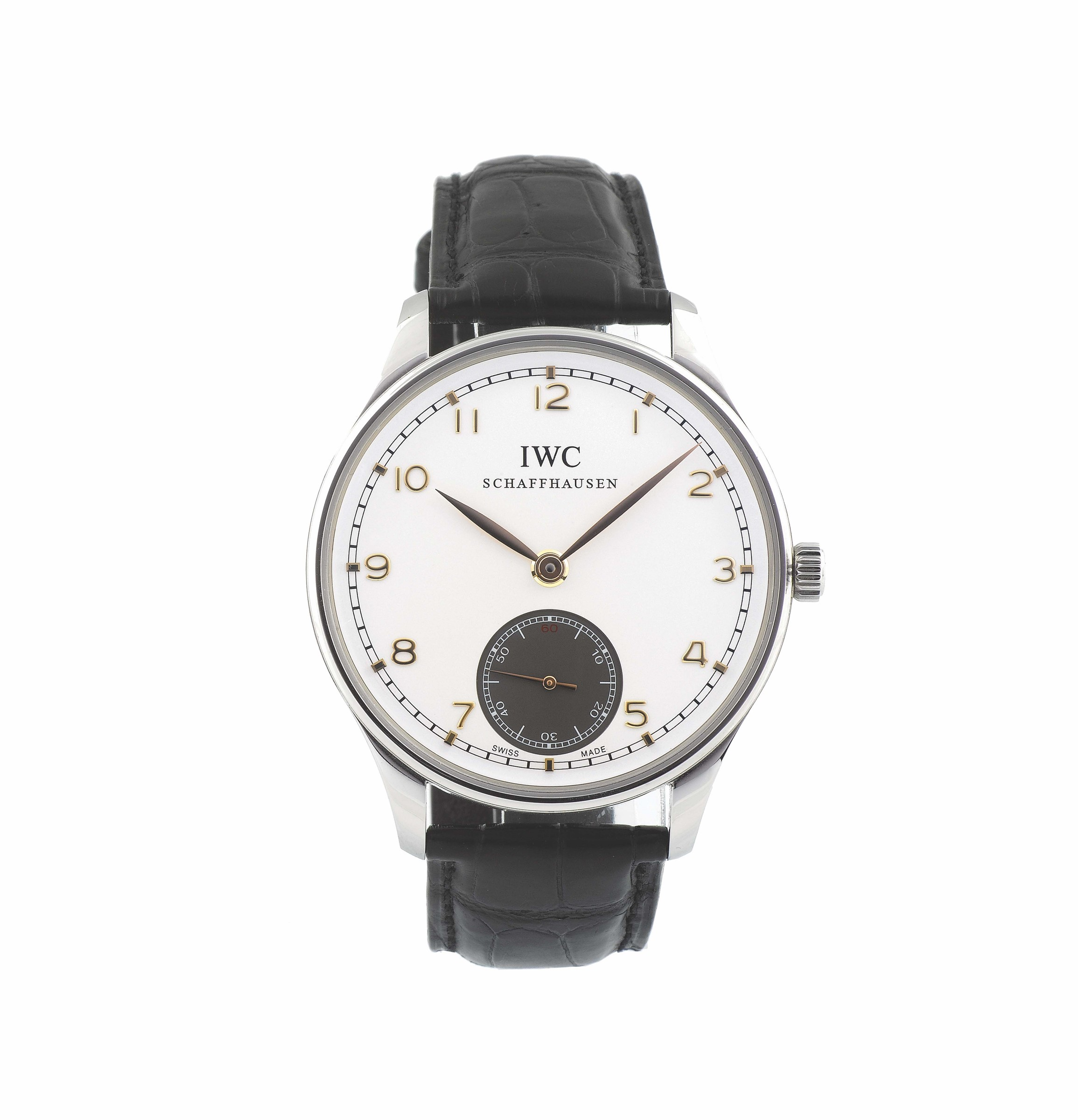 IWC, Portoghese, case No. 3597445, Ref. 5454, stainless steel, water resistant, hand wound wristwatch.  ...