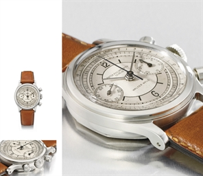 Patek Philippe. A very rare and highly attractive stainless steel chronograph wristwatch with three-tone silvered sector dial and telemetre scale