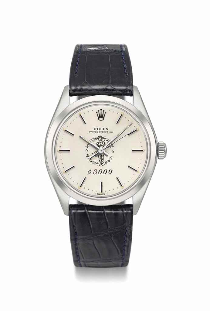 Rolex. A rare and unusual stainless steel automatic wristwatch with sweep centre seconds, made for American Heritage