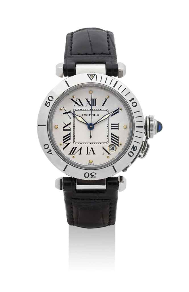CARTIER. A STAINLESS STEEL AUTOMATIC WRISTWATCH WITH SWEEP CENTRE SECONDS AND DATE